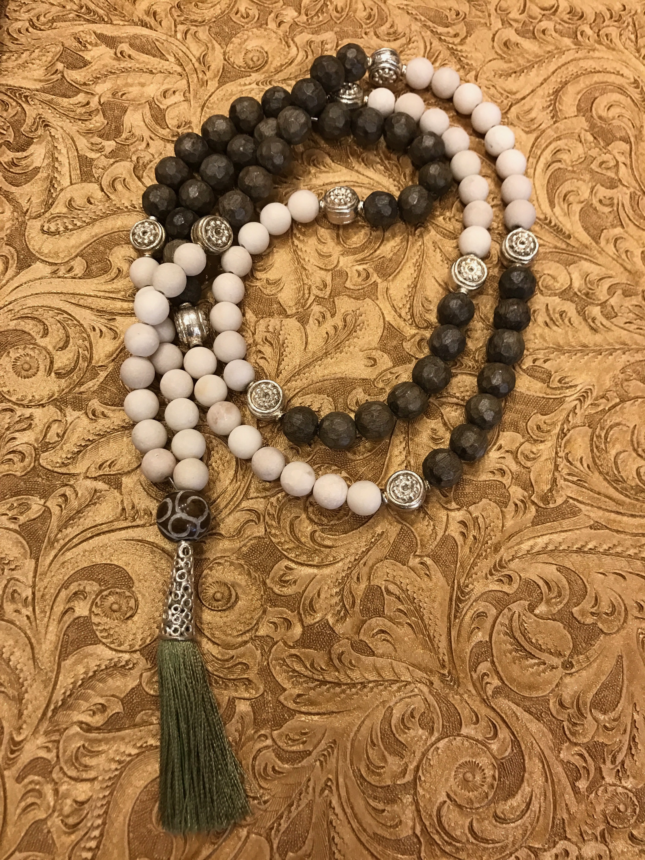 Image of black, white, and silver mala
