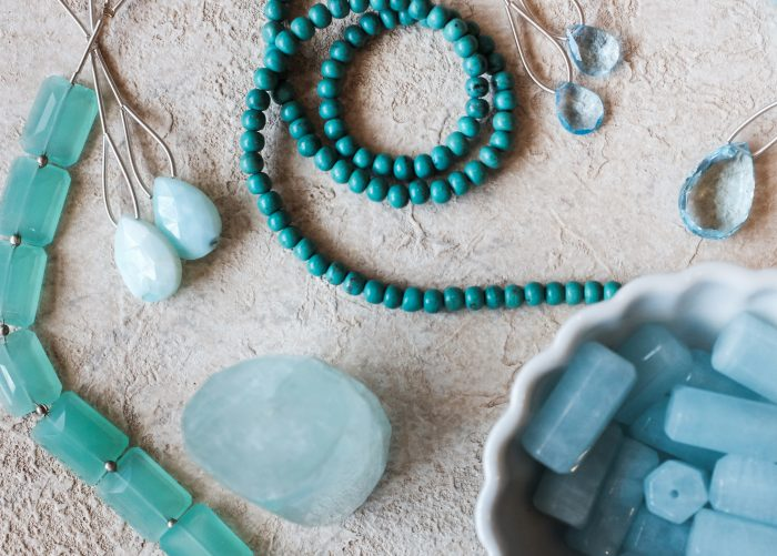 Aquamarine gemstone strands, beads, and pendants