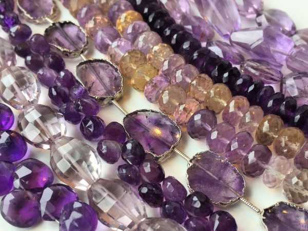 Amethyst and Ametrine natural gemstone beads